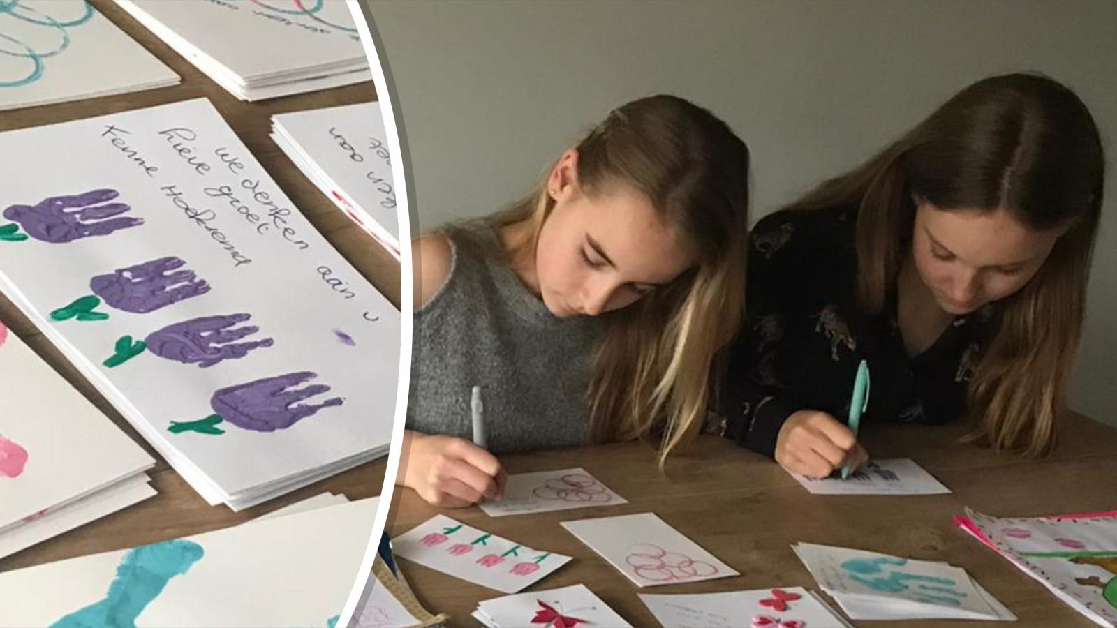 Jinte en haar zusje maken 500 kaarten voor ouderen in verzorgingstehuizen