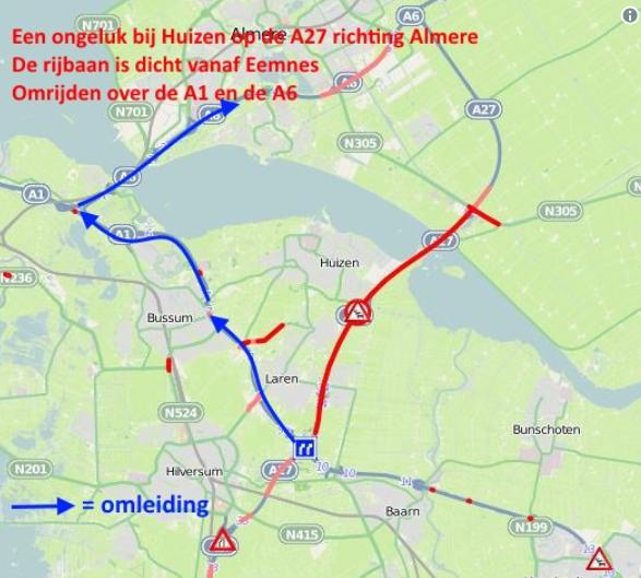 De door Rijkswaterstaat geadviseerde wegomleiding
