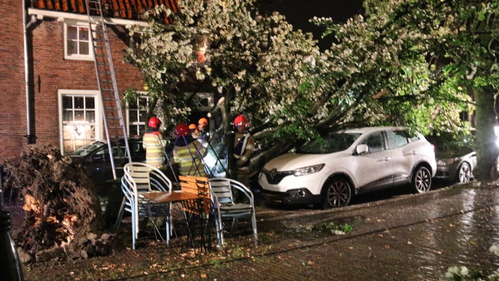 Grote boom valt op auto's in Naarden