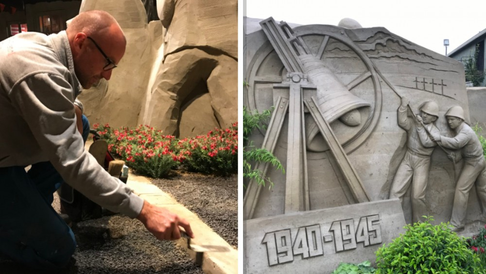 Het 'zandsculpturen-EK' gaat niet door: toch bouwt deze Kortenhoefse zandkunstenaar er op los