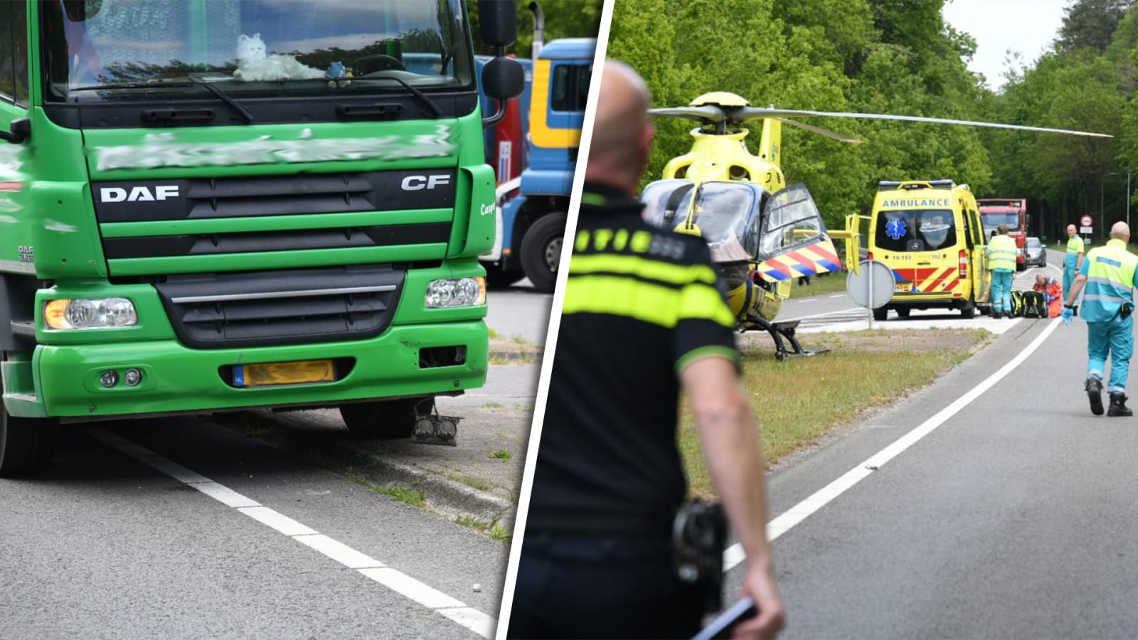 Fietser geschept door vrachtwagen in Baarn